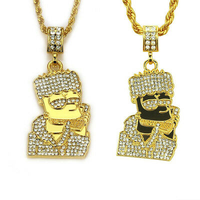 Iced Out Pendant Bart Simpsons Necklace Icy Hip Hop Rapper Bling Shiny Crystal