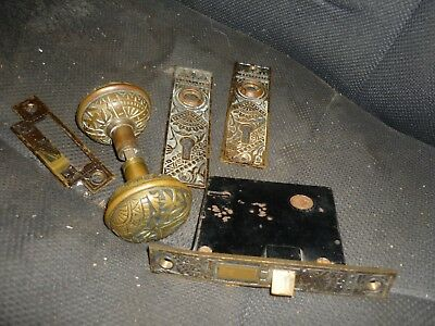 Vtg Antique Victorian Eastlake  Brass Bronze Door Knob Lock Plate Set