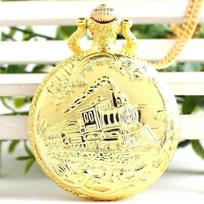 Locomotive Pocket Watch Gold Tone