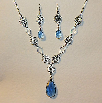 Lacy Filigree Victorian Style Lt Blue Glass Dark Silver Pl Necklace Earrings Set
