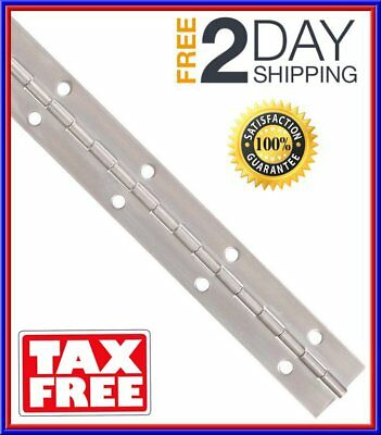 """Stainless Steel 304 Continuous Hinge with Holes 1-1//2/"""" OPEN 5FT LONG POLISHED"""