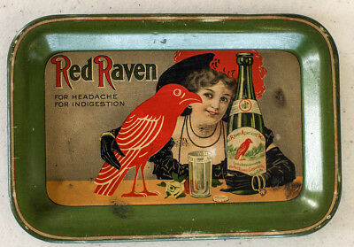 """Red Raven """"For headache For indigestion"""" 6 1/8 x 4 1/8 inch tray Great!"""