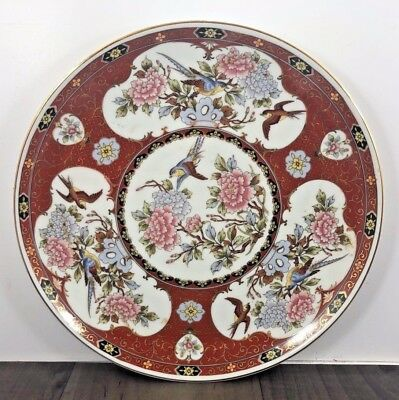 Vintage Signed Chinese Or Japanese Plate Charger Platter Round Birds And Nature