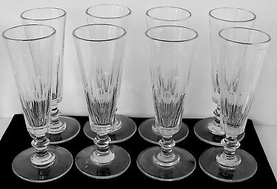 8 Antique 19th Century Mold Blown Panel Cut Champagne Flutes w Knopped Stems #2