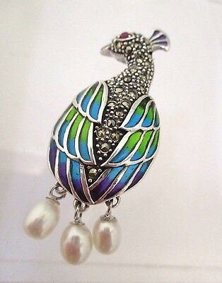 Solid Silver Art Nouveau Style Peacock Brooch Pendant With Marcasite Ruby Pearls