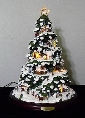 "Large Illuminated Thomas Kinkade ""village Christmas"" 15"" Christmas Tree 2004"