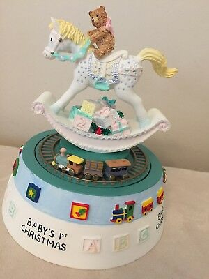 Baby's First Christmas Wind Up Musical Rocking Horse