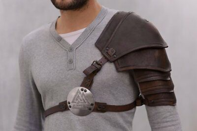 Medieval LARP fantasy armor, leather pauldron with Valknut symbol, Norse Viking