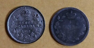 Lot of 2 Canadian Silver 5 Cent Coins G to F 1912 & 1901 or Earlier
