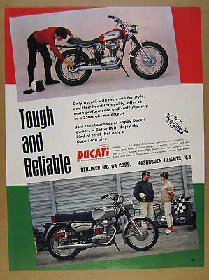 1968 Ducati 350 SS & Sebring motorcycles color photo vintage print Ad