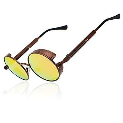52513ab692 Ronsou Steampunk Style Round Vintage Polarized Sunglasses Retro Eyewear  UV400