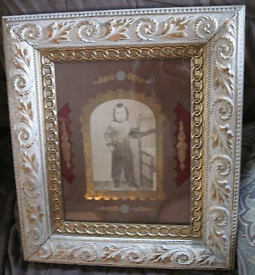1800s ORNATE VICTORIAN ANTIQUE PICTURE FRAME  w/ Ornate Mat NICE