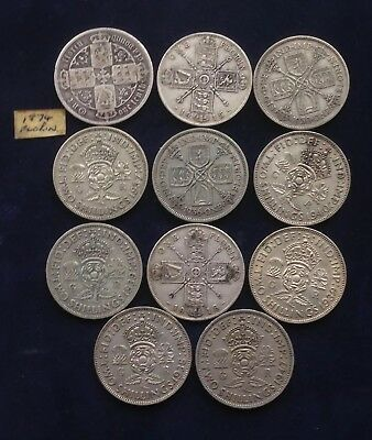 Job Lot Of Silver Two Shilling/Florin Coins. Not Scrap Silver Bullion. 123.4g
