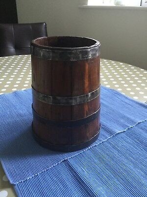 Vintage  Firkin Style Container 21cm High.