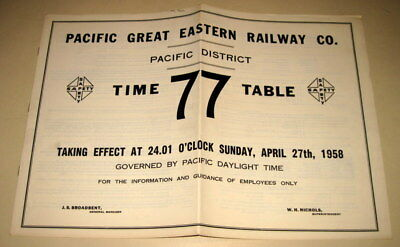 Pacific Great Eastern Railway Employee Tt  Pacific District 1958  Canada