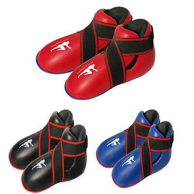 Kick boxing boots BLUE semi/ full contact foot pads rex leather thai boxing mma