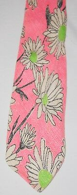 """Vintage 60s Hippie Mens Tie Pink White Flowers Lime Green Wide 4"""" Retro"""
