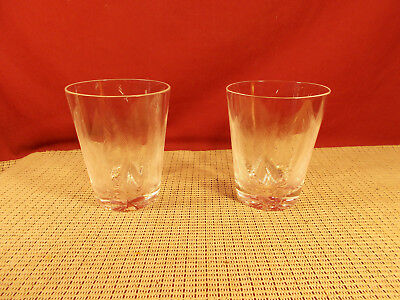 Very Nice Set of 2 Cut Feather Design Crystal Double Old Fashioned Glasses 4 3/8