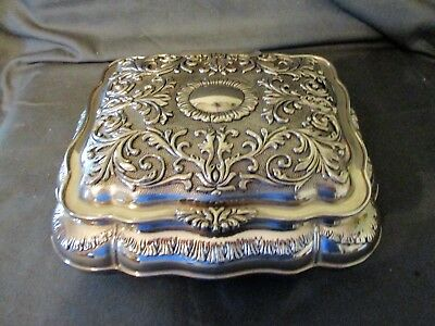 Vintage Ornate Embossed Silver Plate Jewelry Box w/Red Velvet Lining