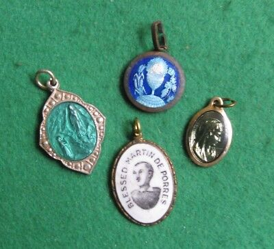 Vintage Selection Of Enamelled Religious Medals