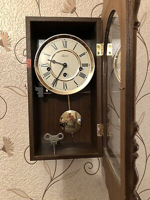 Vintage HERMLE Wall Clock Pendulum Chiming Wooden Case With Key - W39