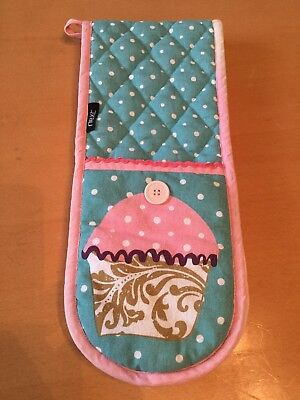 next cupcake / polka dot blue and pink double oven glove mitt good condition