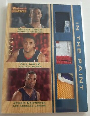 """CONLEY  LAW  CRITTENTON / Topps """"Trademark Moves"""" / TRIPLE PATCH  #d/25"""