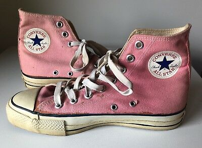 67924d3e5a Vintage 70s 80s Converse High Top Shoes Made In USA 6.5 Pink Rare All Stars