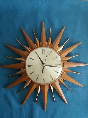 Lovely Vintage Retro Metamec Sunburst Wall Clock, Wood And Copper