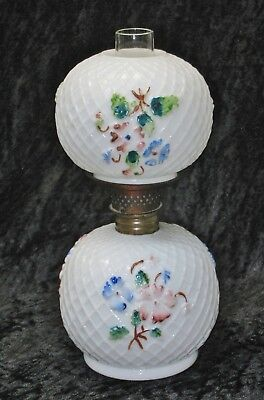 """Antique 1898 Consolidated Glass Co. """"FISHNET & FLOWERS"""" Miniature Hurricane Lamp"""