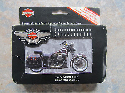 1998 Harley Davidson Motorcycles Sealed 2 Pack Playing Cards in Tin - 95 Years