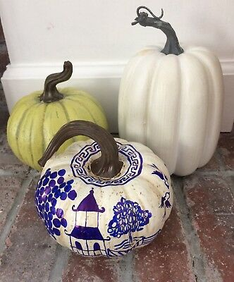 Handpainted Blue Willow Chinoiserie Faux Pumpkin