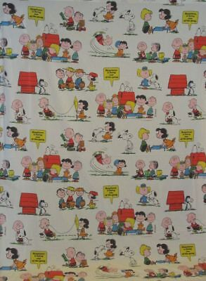 Peanuts Snoopy & Gang Vintage 1971 HAPPINESS IS Twin Flat Bed Sheet 94x66 Inches