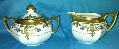 Vintage W A Pickard China Hand Painted Gold Trimmed Sugar and Creamer with Lid.