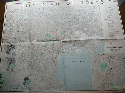 Foldout City Plan of TOKYO Japan For US. Military Use - Dated August 1945