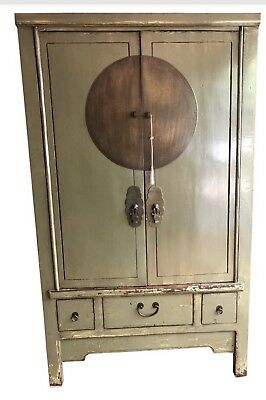 Chinese Antique Armoire, Cabinet, Green