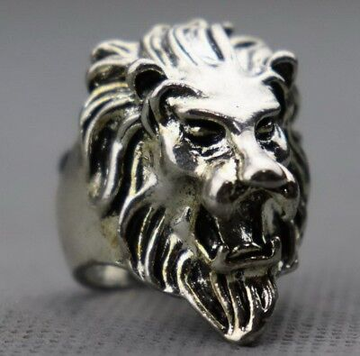 Collectable China Old Tibet Silver Carving Roar Lion Exorcism Decorate Ring Gift