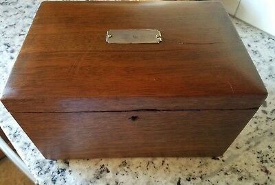 Vintage Antique Wooden Cigar Humidor Box with Porcelain Lining