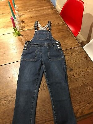 Girls Mini Boden Denim Dungarees Age  9-10 Years