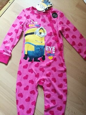 Girls Despicable Me Minions All In One Pyjamas Pj's Age 2-3 Yrs Bnwt