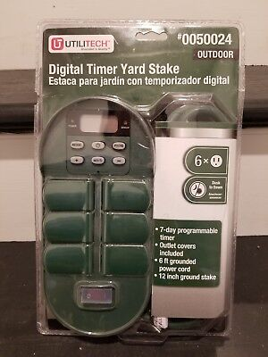 Programmable Digital Timer - Outdoor Yard Stake - Six Outlets by Utilitech