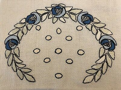 """42"""" Long Antique Arts & Crafts Mission Stickley Embroidered Linen Table Runner"""