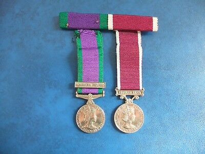 Northern Ireland GSM & Regular Army LSGCM Pair of Medals + Full Size Ribbon Bar