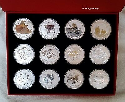 12 x 2 oz LUNAR Collection Silber Münzen 2008 - 2019 Silver Coin Box Unze