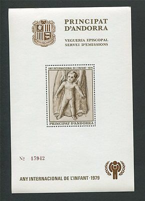 ANDORRA VEGUERIA EPISCOPAL 1979 UNICEF YEAR CHILD MINIATURE SHEET ** MNH c2300