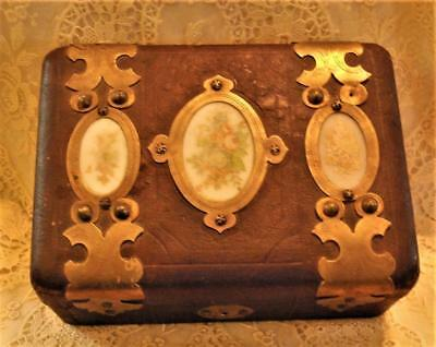 Small, Rustic Leather Covered Wood Box..faded Painted Panels, Hinged, No Key