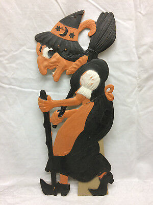"""Antique Vintage Halloween Witch Embossed Die Cut Germany 15"""" Standing Decor"""