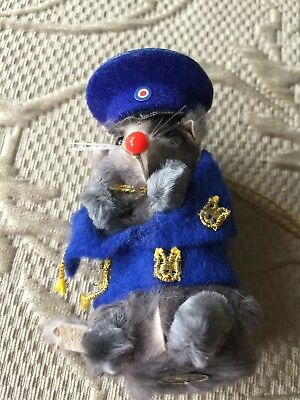 Vintage Real Fur Toy Mouse - Policeman -  Made in W. Germany Collectible