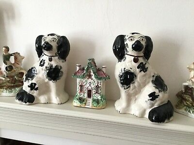 Rare Antique pair of Staffordshire Wally Spaniel dogs Black and White
