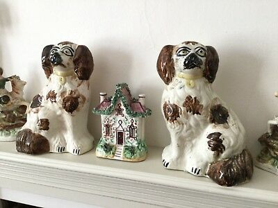 Rare Antique pair of Staffordshire Wally Spaniel dogs Brown and White